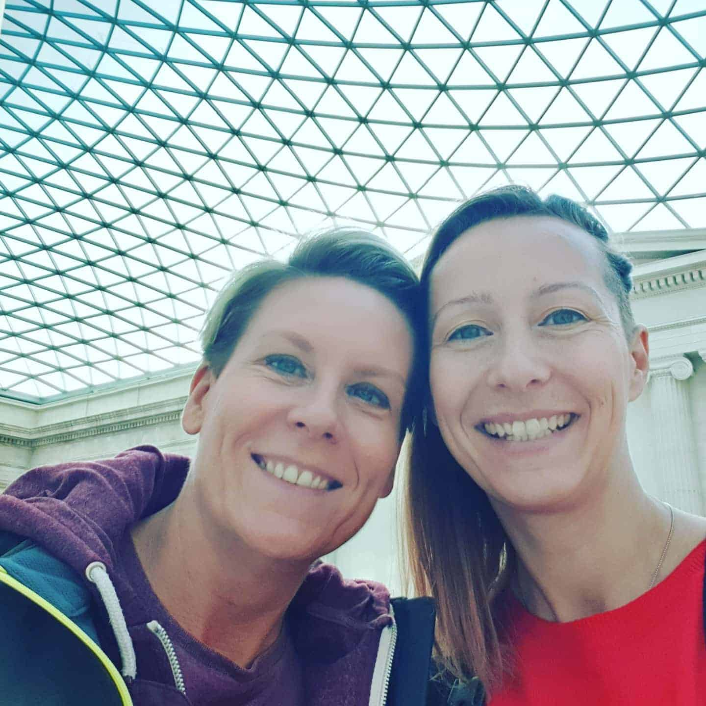 Clare and her partner at the British Museum