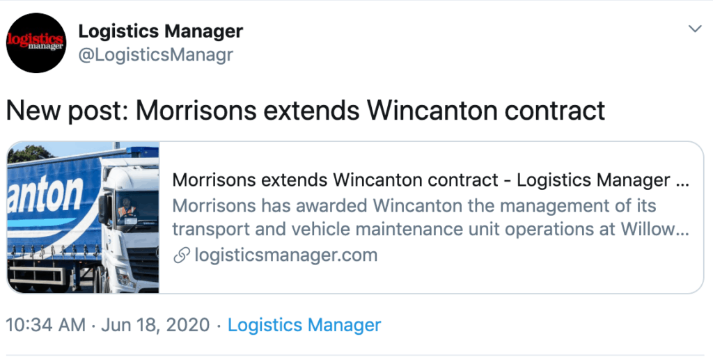 A screenshot of a tweet about the Morrisons Wincanton contract