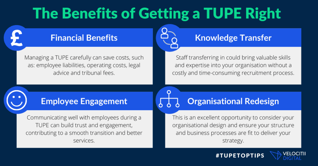 An infographic to show the benefits of getting a TUPE right, including financial, knowledge transfer, employee engagement and organisational redesign