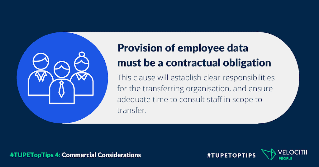 Provision of employee data must be a contractual obligation: this clause will establish clear responsibilities for the transferring organisation, and ensure adequate time to consult staff in scope to transfer.