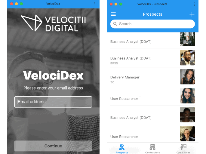 Velocidex mobile app user interface