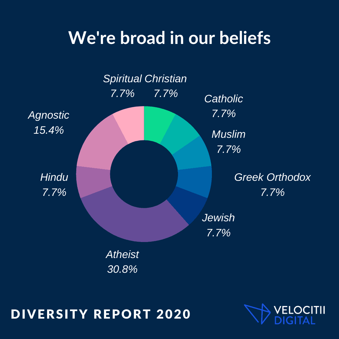 An infographic from the Velocitii Diversity Survey 2020 showing how we are broad in our beliefs.