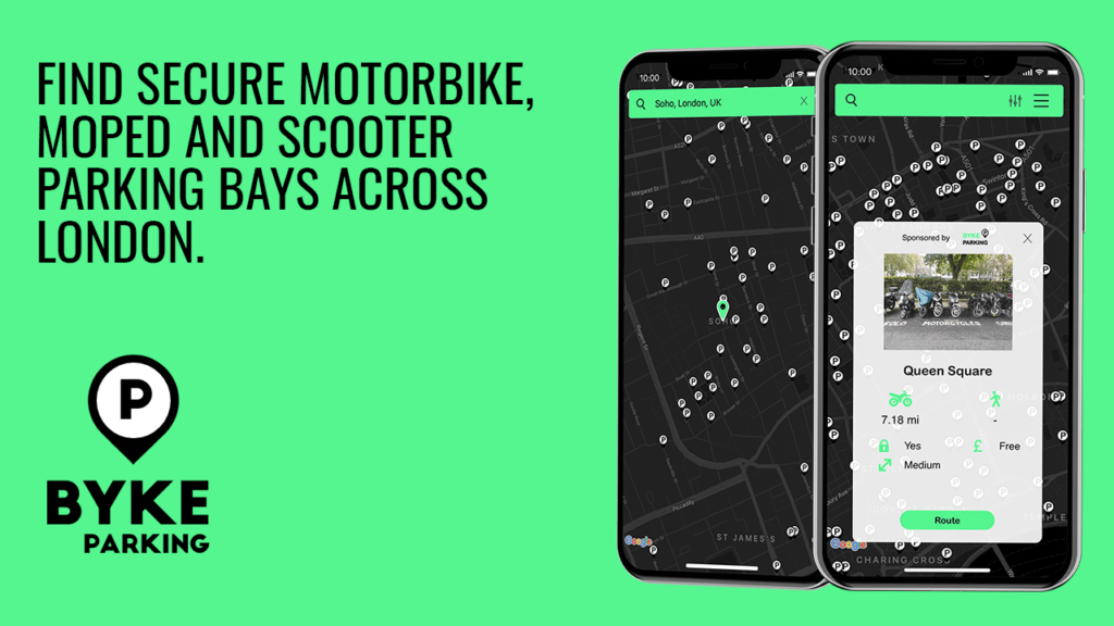 Find secure motorbike, moped and scooter parking bays in London with Byke Parking